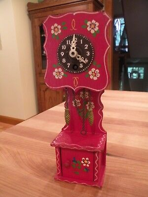 Vintage Mini German  Red Wooden Hand painted Mantel Clock with Key, Not Running