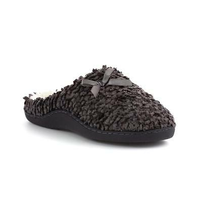 Zone - Womens Grey Bobble Effect Mule Slipper with Bow - Sizes 3,4,5,6,7,8,9