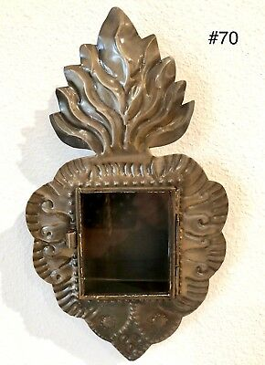 Mexican Tin Nicho Shadow Box - Flame Heart Vintage Style Frame- Folk Art - New