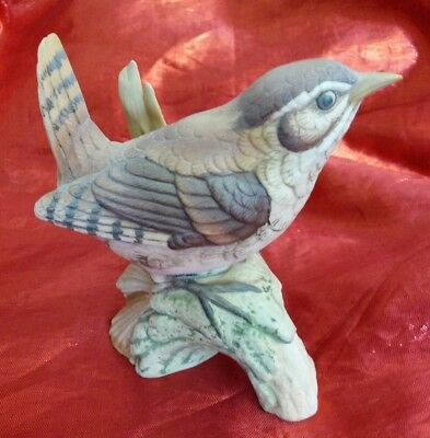 Finch Porcelain Bisque Figurine By  KATO KOGEI, JAPAN Hand Painted Retired