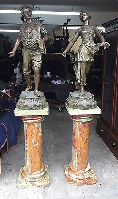Pair Of Large Victorian Figural Statues On Pedestals, Signed F. Milliot , 41""