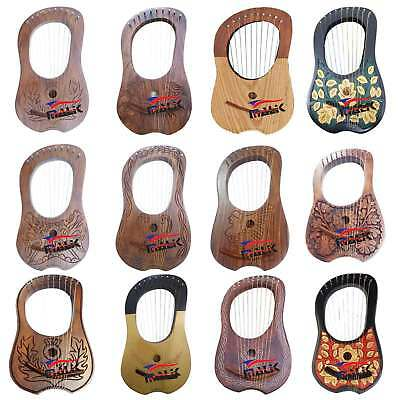 Lyre Harp Rosewood 10 Metal Strings with Free Bag and Key Premium Quality