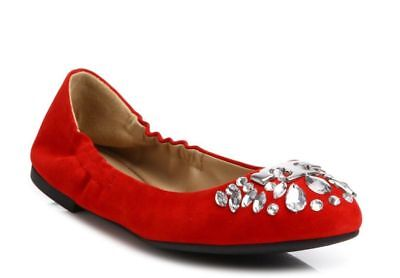 NIB Tory Burch Ballet Flat  DELPHINE Red Suede Crystal Design 8.5