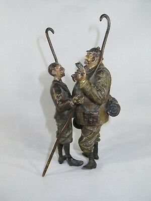 Large Vienna Bronze of two Victorian gentleman Hikers talking & smoking a cigar