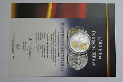 GERMANY PURE SILVER/GOLD MEDAL 40mm 20 Gr. 1200 YEARS CURRENCY A92 RDI-54