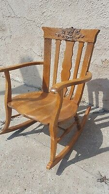 Antique Oak Northwind? Gothic Medieval Carved Wood Rocking Chair Rocker