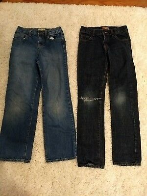 Lot of 2 pairs of Boys Denim Jeans, Size 12, Old Navy, Straight, Skinny