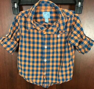 Baby Gap Boy Long Sleeve Button Up Plaid Shirt Size 18-24 Months