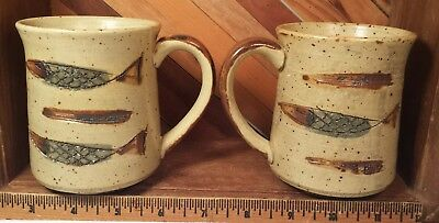 Studio Art Pottery Speckled Stoneware Mug w Fish Decoration Set Pair Lot of 2