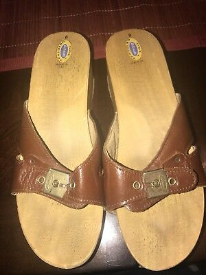 Dr Scholls The Original Wooden Sandals Made In Italy Womens Size 8. Brown
