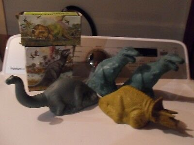 4 Avon Dinosaur bubble bath bottles -2 with contents and boxes