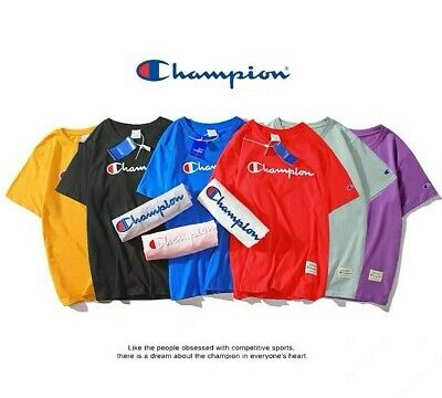🇦🇺 AU STOCK Champion T Shirt T-Shirt Short Sleeves Embroidery Logo 100% Cotton
