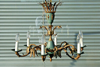 Gorgeous french empire style 50's Brass tole green 12 lights chandelier rare