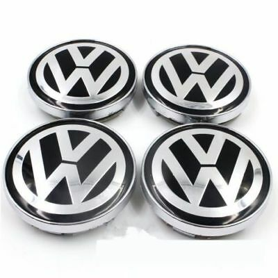 4 x 60mm Alloy Wheel Center Caps Logo Emblem for VW Volkswagen Golf Passat Black