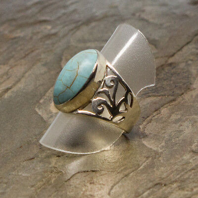 Enticing Natural Turquoise Sterling Silver Ring