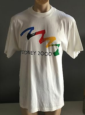 Mens BONDS SYDNEY 2000 Olympics White Short Sleeve Collectors T-Shirt Size S