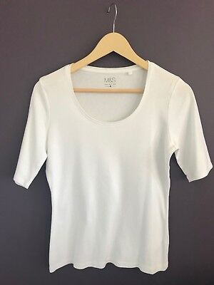 Ladies M&S Collection White 3/4 Length Tshirt 100% Cotton - Size 14