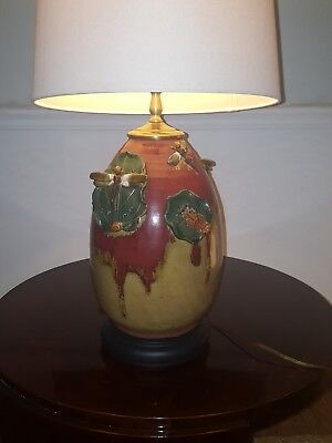 Wheel-Thrown Large Ceramic Pottery Table Lamp with Hand-Built Dragonfly Details