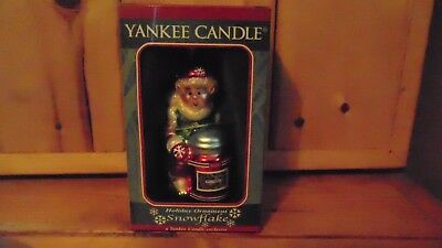 YANKEE CANDLE Holiday Ornament SNOWFLAKE ELF Blown Glass HAND PAINTED NIB