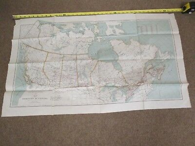 Vintage 1924 Map of The Dominion of Canada Railroads Steamship Routes S7557