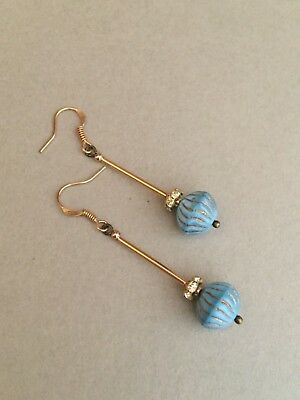 Art Deco vintage style blue glass and rhinestone gold tone earrings