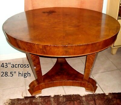 Art Deco 43 Round Burl Walnut Center Dining Foyer Side End Game Entry Table Wood
