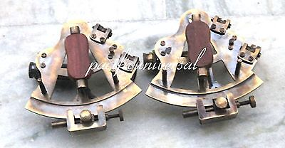 "2PCS,NAUTICAL MARITIME ~ BRASS SEXTANT ~ SEXTANT ASTROLABE 4"" Ship Working Gift."