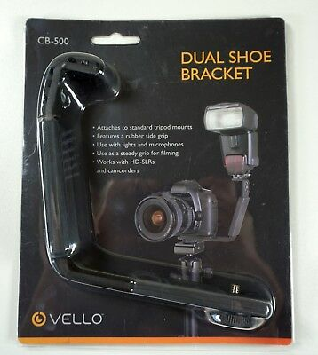 New Vello CB-500 Dual Shoe Bracket with Rubber Grip - Tripods, SLRs, Camcorders