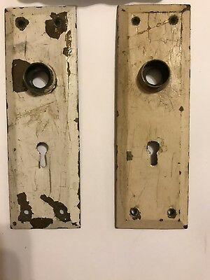 Two Vintage Brass Door Back Plates, Skeleton Key