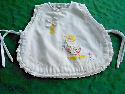 Eyelet Trimmed Baby Bib With A Cute  Embroidered Duck,  Circa1950