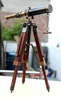Maritime Imported From Abroad Leather Covered Brass Telescope With Wooden Tripod Stand Table Top Marine Scope