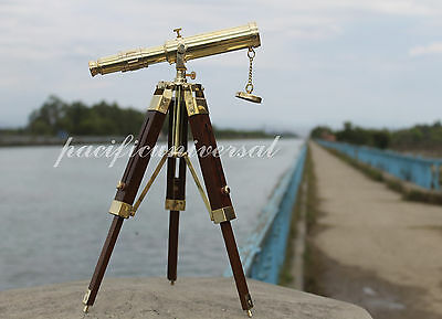 Vintage Brass Telescope With Stand Desk Standing Tripod Telescope Home Decor