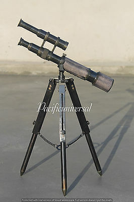 """Antique Leather Spyglass Solid Telescope 10"""" With Tripod Stand Full Brass Decor."""