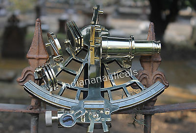 "Vintage Maritme Solid Brass Sextant 9"" Ship Navigation Reproduction Gitf Decor."