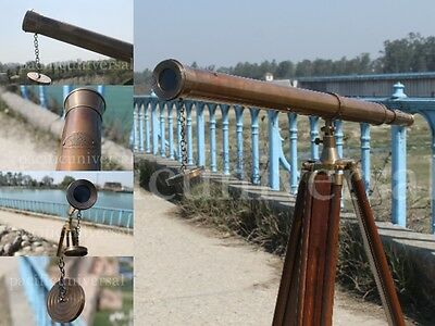 Nautical Marine Telescope~Anchormaster Brass Refractor Telescope Spyscope Tripod