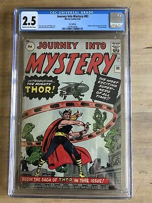 Journey into Mystery #83 CGC 2.5 Origin and 1st Thor Key S.A. Title UK Variant