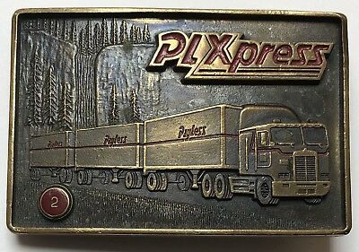 Vtg PLXpress Belt Buckle Payless Drug Store Market Trucking Safe Driver 2 Award