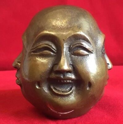 Old four Face Sided Bronze  Buddha Head Figure