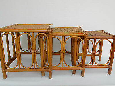 Mid Century, Rattan & Wicker Nesting Tables, Stacking Tables, Tiki, Bamboo Asian