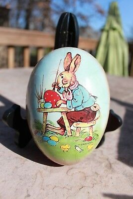 "Vintage German Paper Mache Easter Egg (6""x4"") Rabbit Painting Eggs by Drechsel"