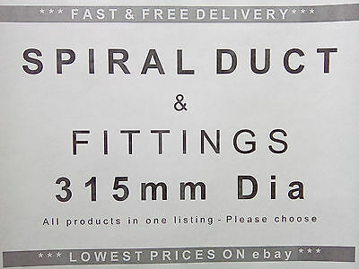 Spiral ducting & fittings 315mm dia, ventilation, extractor fan, hydroponics