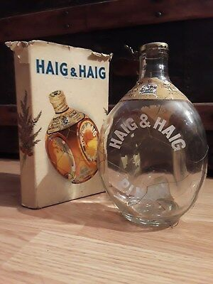 Vintage Haig & Haig Pinch Scots Whisky Bottle Glass with Wire & Cap. Empty. box