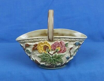H.J.Wood 581/4 Indian Tree Hand Painted Ceramic Floral Basket