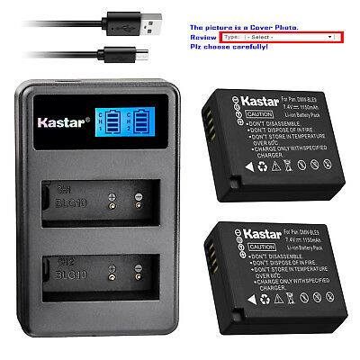 Kastar Battery LCD Dual Charger for Panasonic DMW-BLE9 DMW-BLG10 Lumix DMC-TZ100