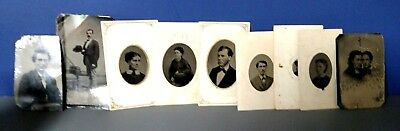 Lot Of Collectible Old Vintage Tin Type Photographs People Men Women Antique