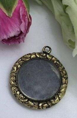 Antique Victorian Yellow Metal Hair Work Pendant Locket Ornate Pretty