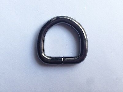 40 x D-Ring Gunmetal Black Schwarz Anthrazit 20 mm Halbring DIY