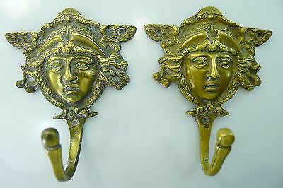 Antique Rare Pair Of Solid Brass Beautiful Decorative Hangers