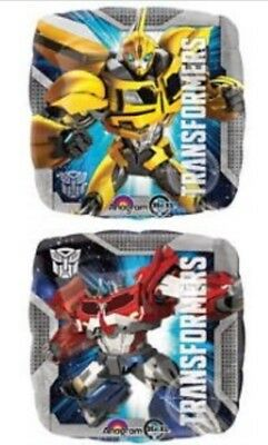 """Helium Foil Balloon 17"""" TRANSFORMERS BUMBLEBEE OPTIMUS 2 Sided Party Decoration"""