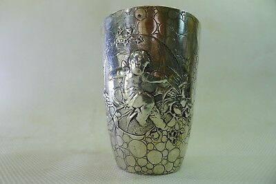 antique art nouveau cup Germany hallmarked solid silver raised angel decoration